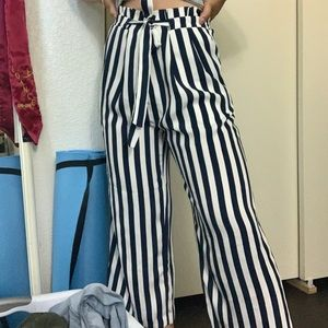 Blue and White Stripe Zara Pants